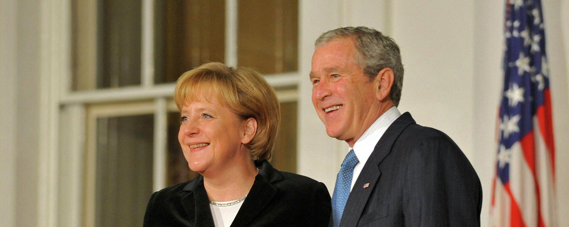 Der ehemalige US-Präsident George W. Bush trifft sich mit Angela Merkel in Washington (2008) - SNA, 1920, 14.07.2021