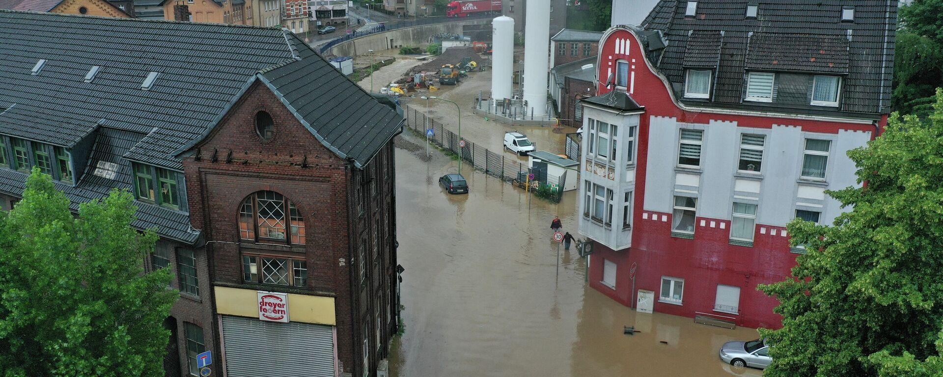 Überflutete Straßen von Hagen (Nordrhein-Westfalen)  - SNA, 1920, 14.07.2021