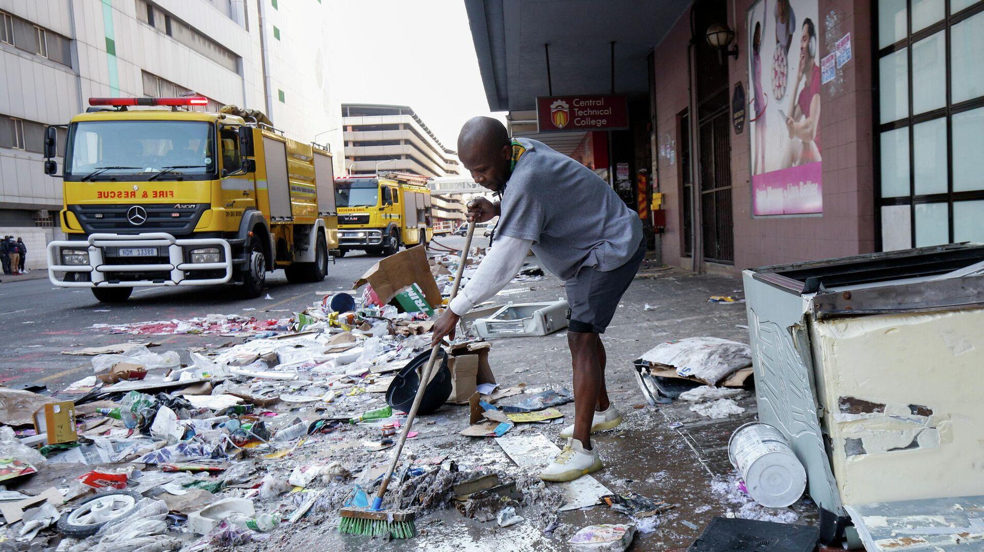 Folgen schwerer Ausschreitungen in Durban, Südafrika, 15. Juli 2021 - SNA, 1920, 15.07.2021