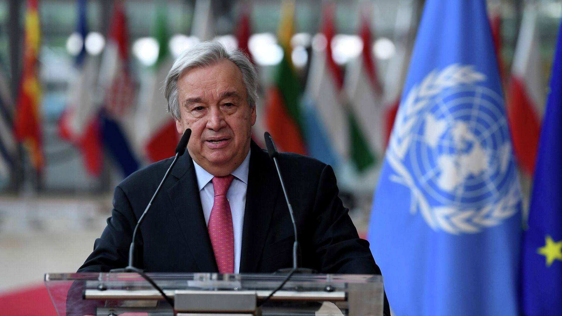 UN-Generalsekretär Antonio Guterres auf dem EU-Gipfel in Brüssel (Symbolbild) - SNA, 1920, 17.07.2021
