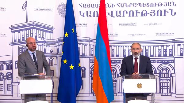 Совместный брифинг главы Европейского совета Шарля Мишеля и и.о. премьер-министра Армении Николом Пашиняном - SNA