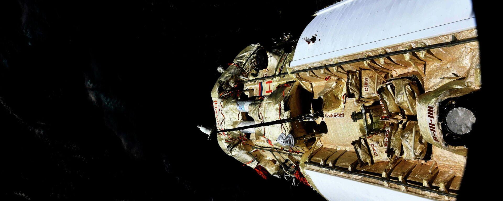 Russisches multifunktionales Forschungsmodul Pirs kurz vor dem Andocken an der ISS, 29. Juli 2021 - SNA, 1920, 29.07.2021
