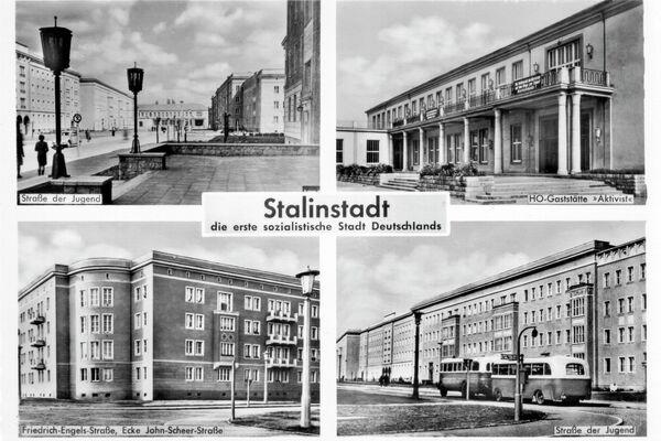 Ansichtskarte Stalinstadt, die erste sozialistische Stadt Deutschlands – 1958 - SNA