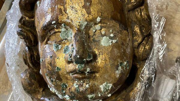 Eine der geretteten Skulpturen, die Anfang August im Dom- und Diözesanmuseum Mainz eintraf.  - SNA