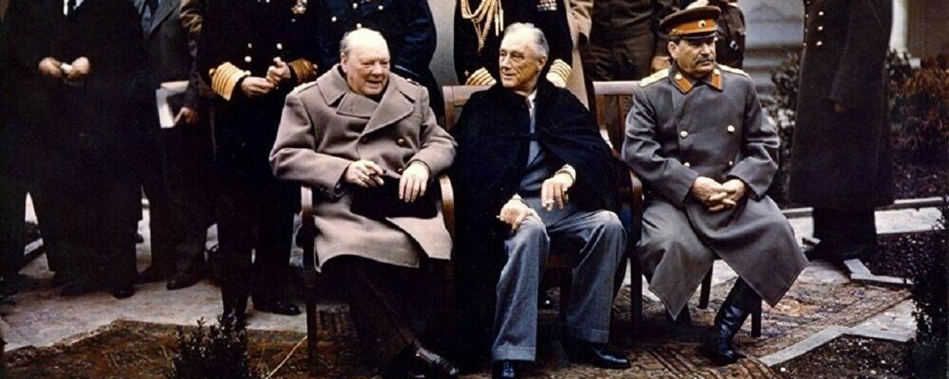 v.l.n.r.: Winston Churchill, Franklin D Roosevelt, Josef Stalin auf der Konferenz von Jalta 1945 - SNA, 1920, 13.08.2021