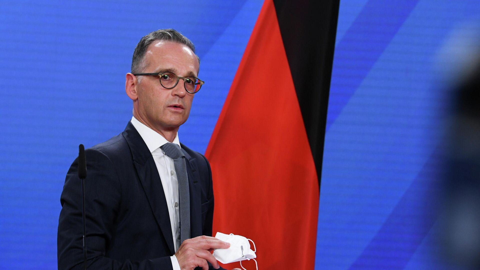 Der deutsche Außenminister Heiko Maas gibt einen Pressestatement vor einem Sondertreffen der EU-Außenminister am 17. August 2021 ab. - SNA, 1920, 02.09.2021