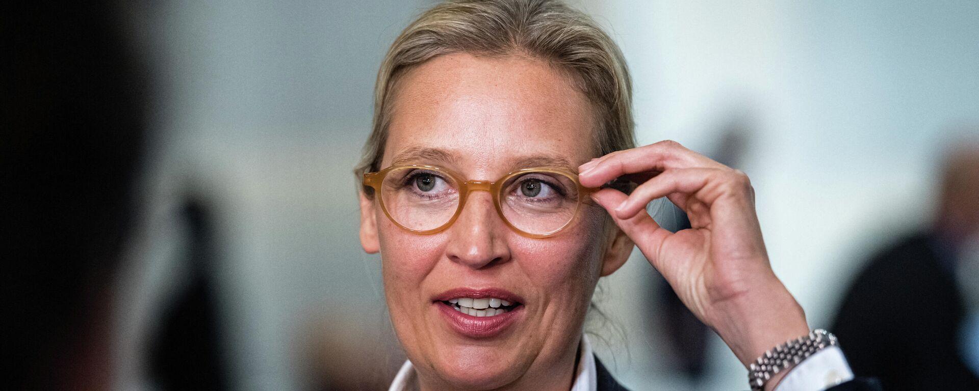 Die Fraktionsvorsitzende der Partei Alternative für Deutschland (AfD), Alice Weidel, gibt ein Fernsehinterview während eines Kongresses der AfD, 10. April, 2021. - SNA, 1920, 19.08.2021
