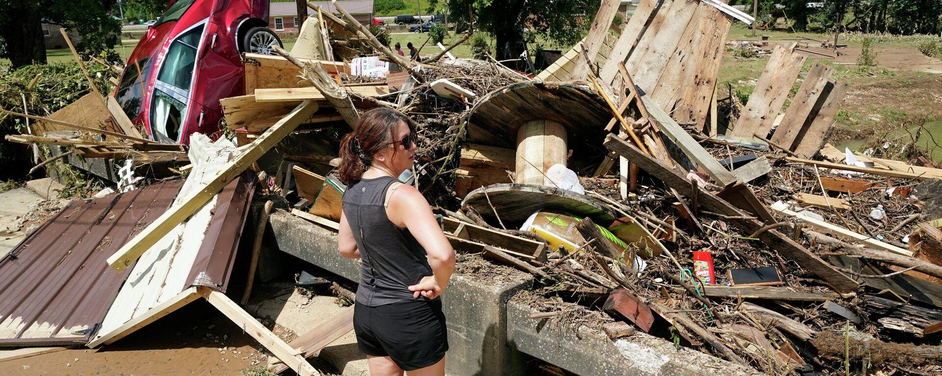 Nach Überschwemmungen im US-Bundesstaat Tennessee: Eine Brücke in der Stadt Waverly,  - SNA, 1920, 23.08.2021