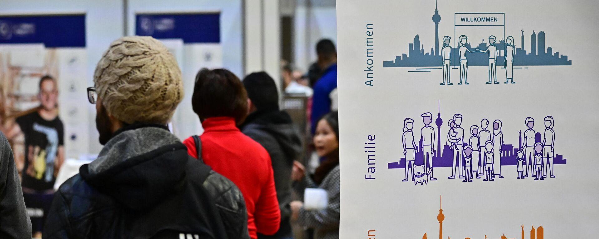 Eine Jobmesse für Migranten, die von der Bundesagentur für Arbeit Ende Januar 2019 in Berlin veranstaltet wurde.  - SNA, 1920, 24.08.2021