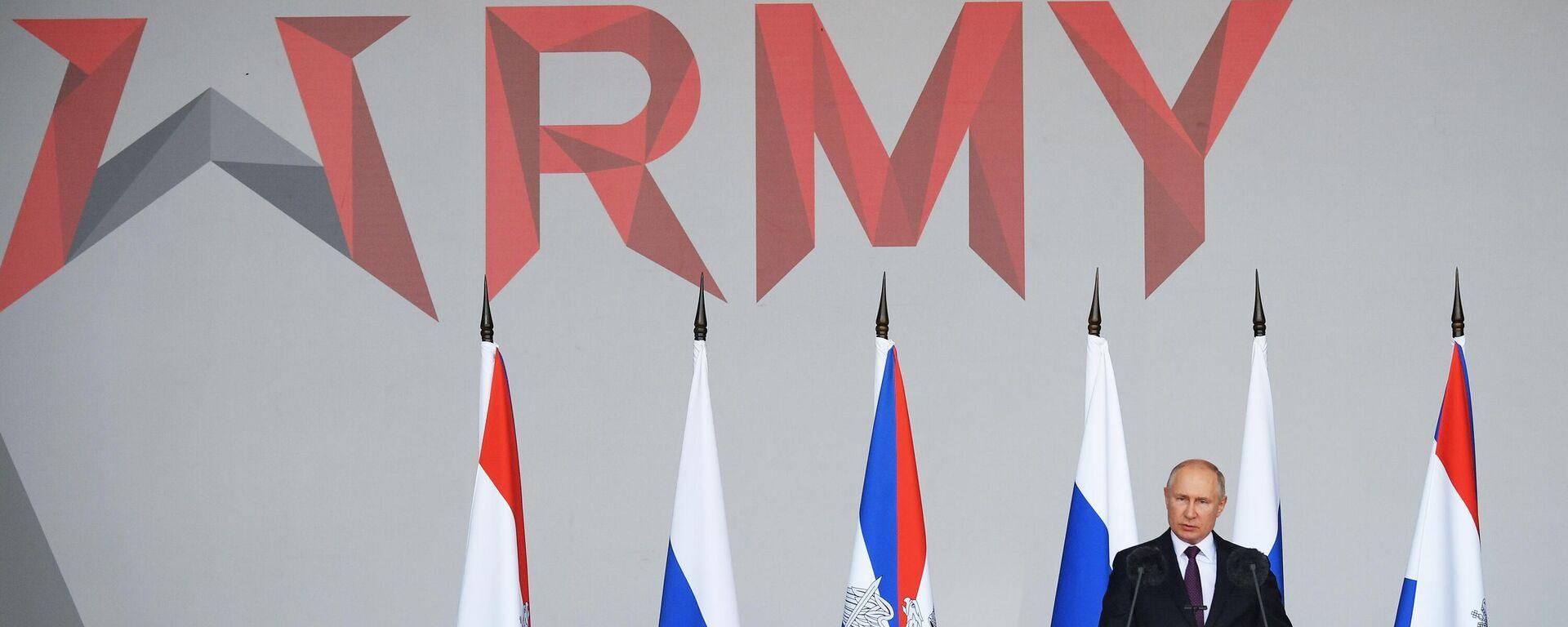 """Wladimir Putin bei der Eröffnung des Forums """"Army 2021"""" - SNA, 1920, 24.08.2021"""