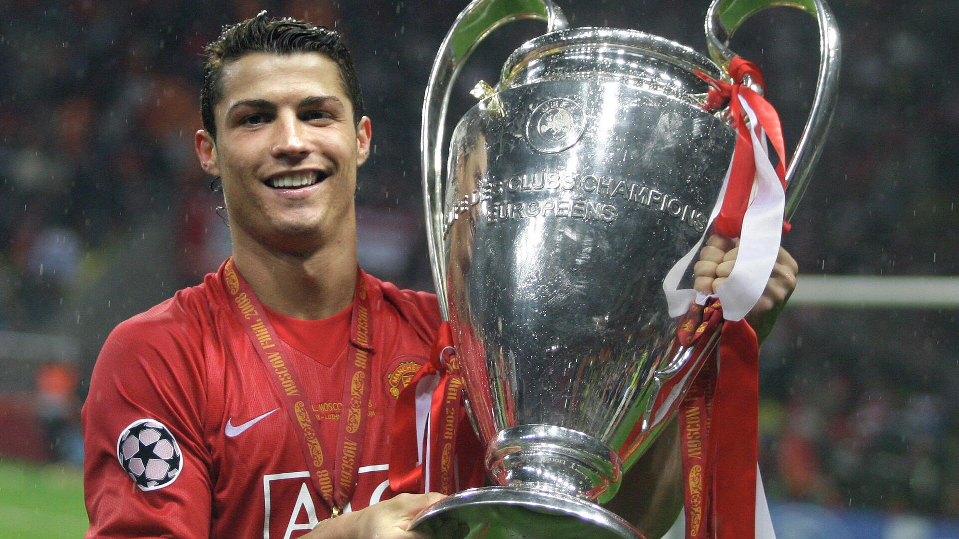 Cristiano Ronaldo mit dem Champions-League-Pokal, Moskau, 2008 - SNA, 1920, 13.09.2021