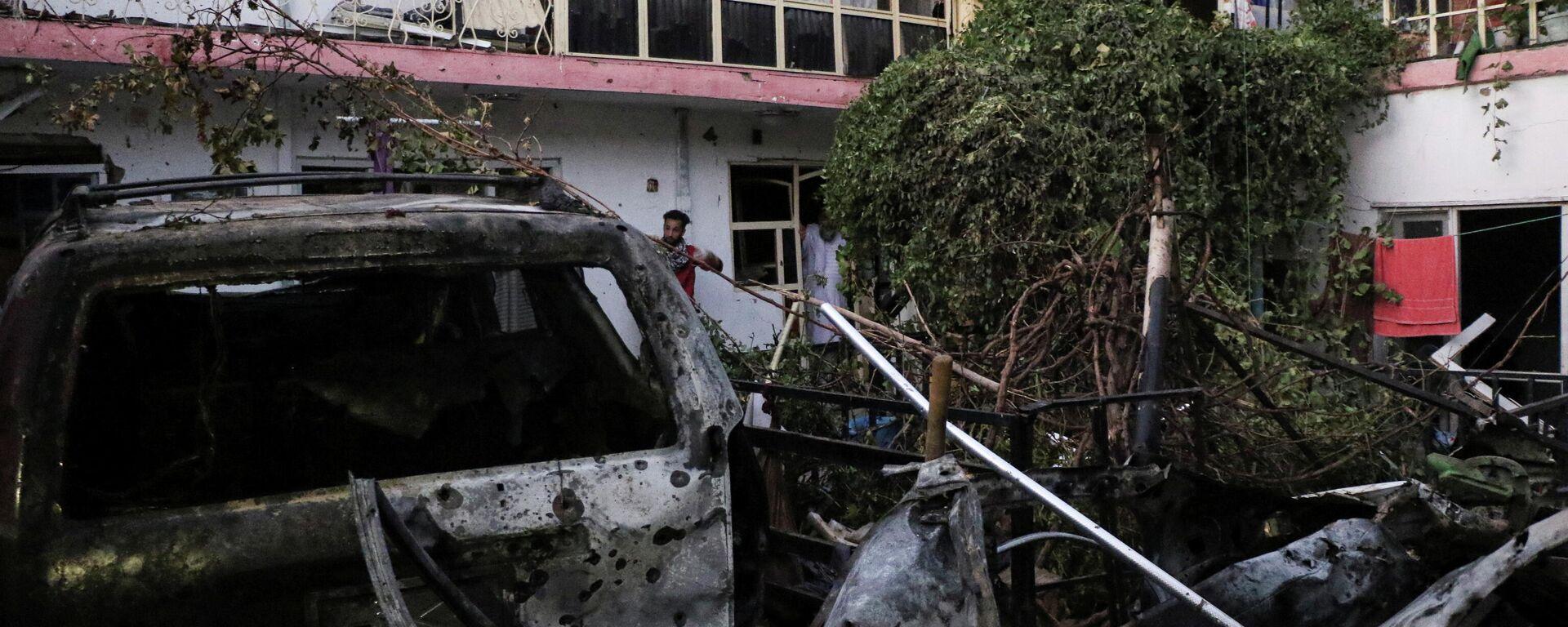 Privathaus im 15. Polizeibezirk in Kabul, welches nach dem US-Angriff auf einen Selbstmordattentäter teilweise zerstört wurde - SNA, 1920, 29.08.2021