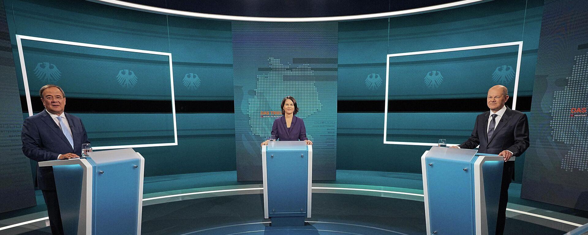 Die TV-Debatte der Kanzlerkandidaten von der Union der SPD und den Grünen bei RTL und ntv am 29.08.21 - SNA, 1920, 30.08.2021