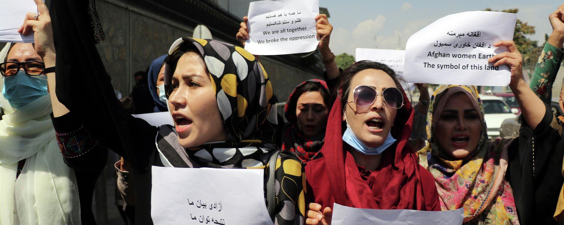 Afghanische Frauen bei der Demonstration in Kabul - SNA, 1920, 04.09.2021