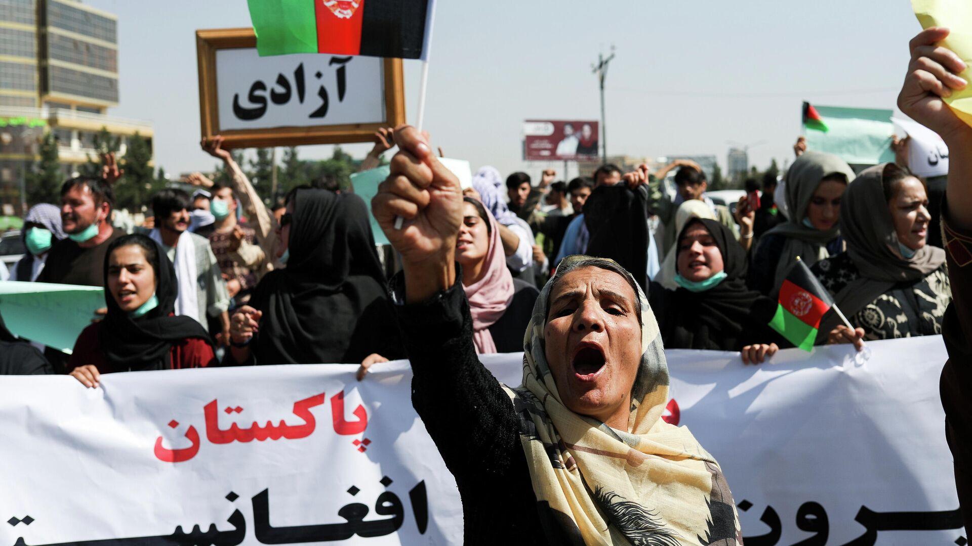 Frauen bei Anti-Pakistan-Protesten in Kabul - SNA, 1920, 07.09.2021
