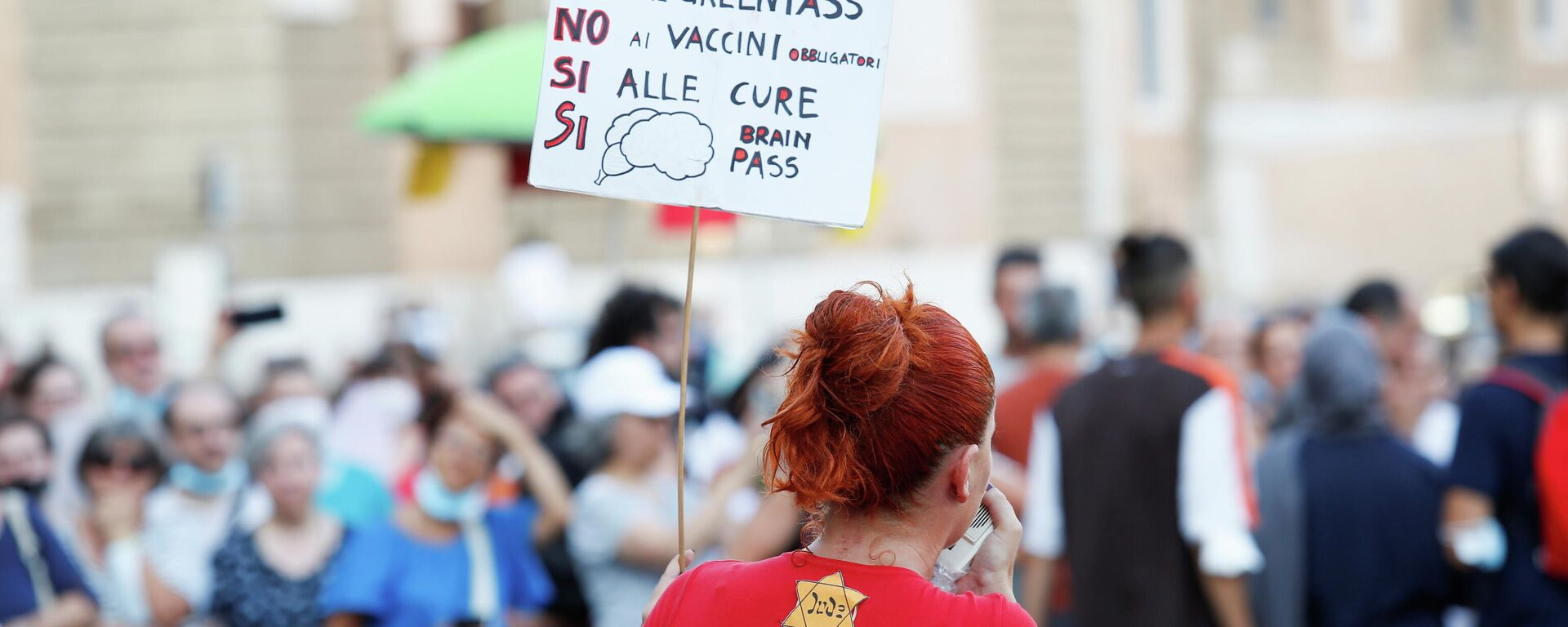 Protest gegen Corona-Maßnahmen in Italien - SNA, 1920, 09.09.2021