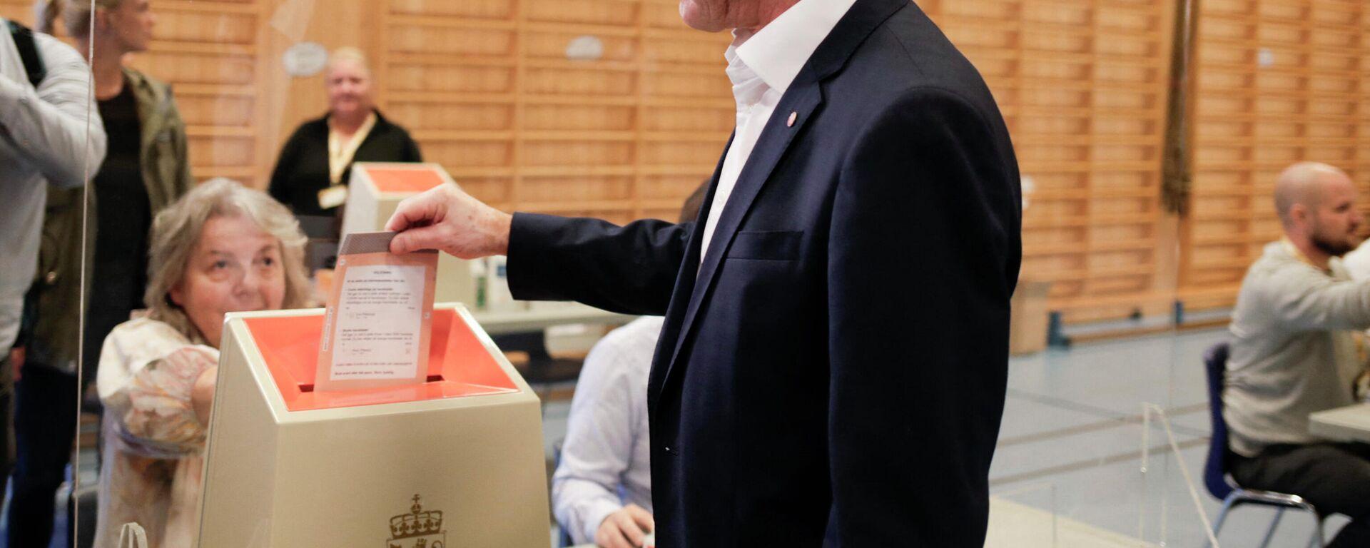 Vorsitzende der norwegischen Arbeitspartei Jonas Gahr Støre bei den Wahlen - SNA, 1920, 13.09.2021