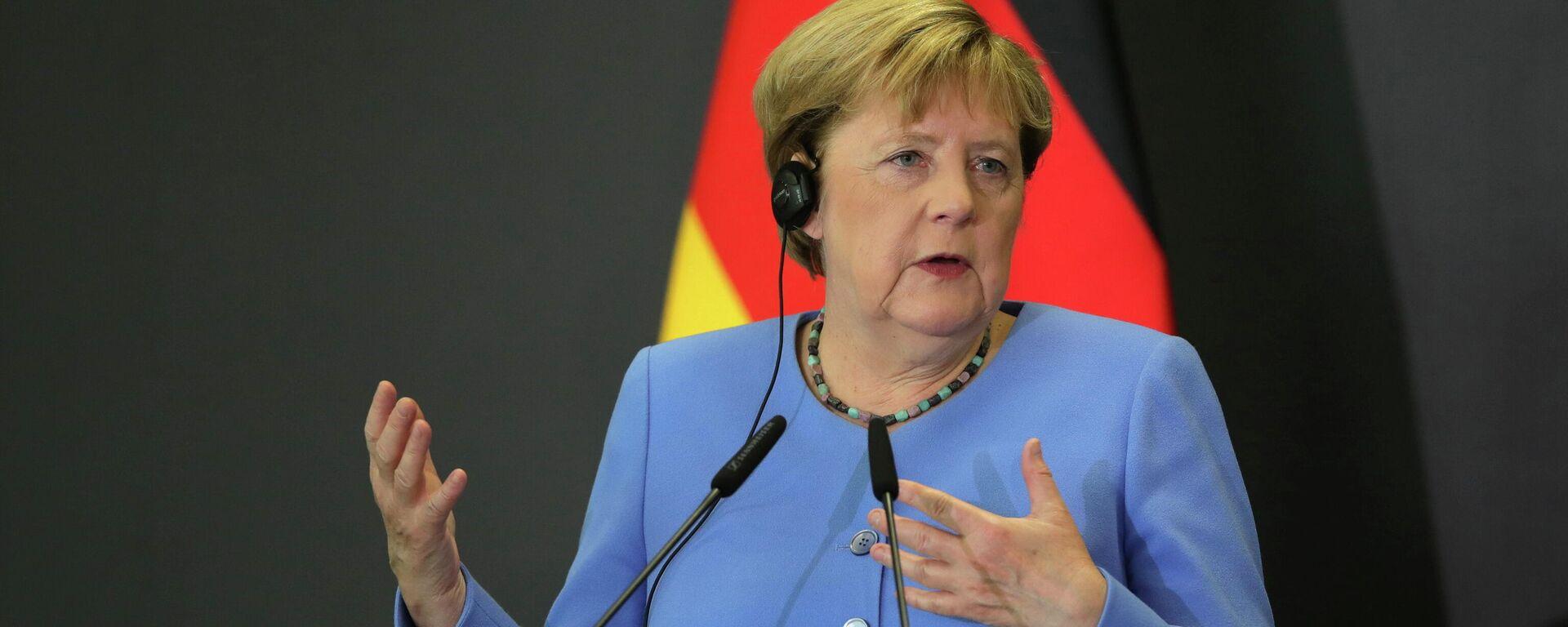 Die scheidende Bundeskanzlerin Angela Merkel bei einem Besuch in Albanien. Tirana, 14. September 2021 - SNA, 1920, 14.09.2021