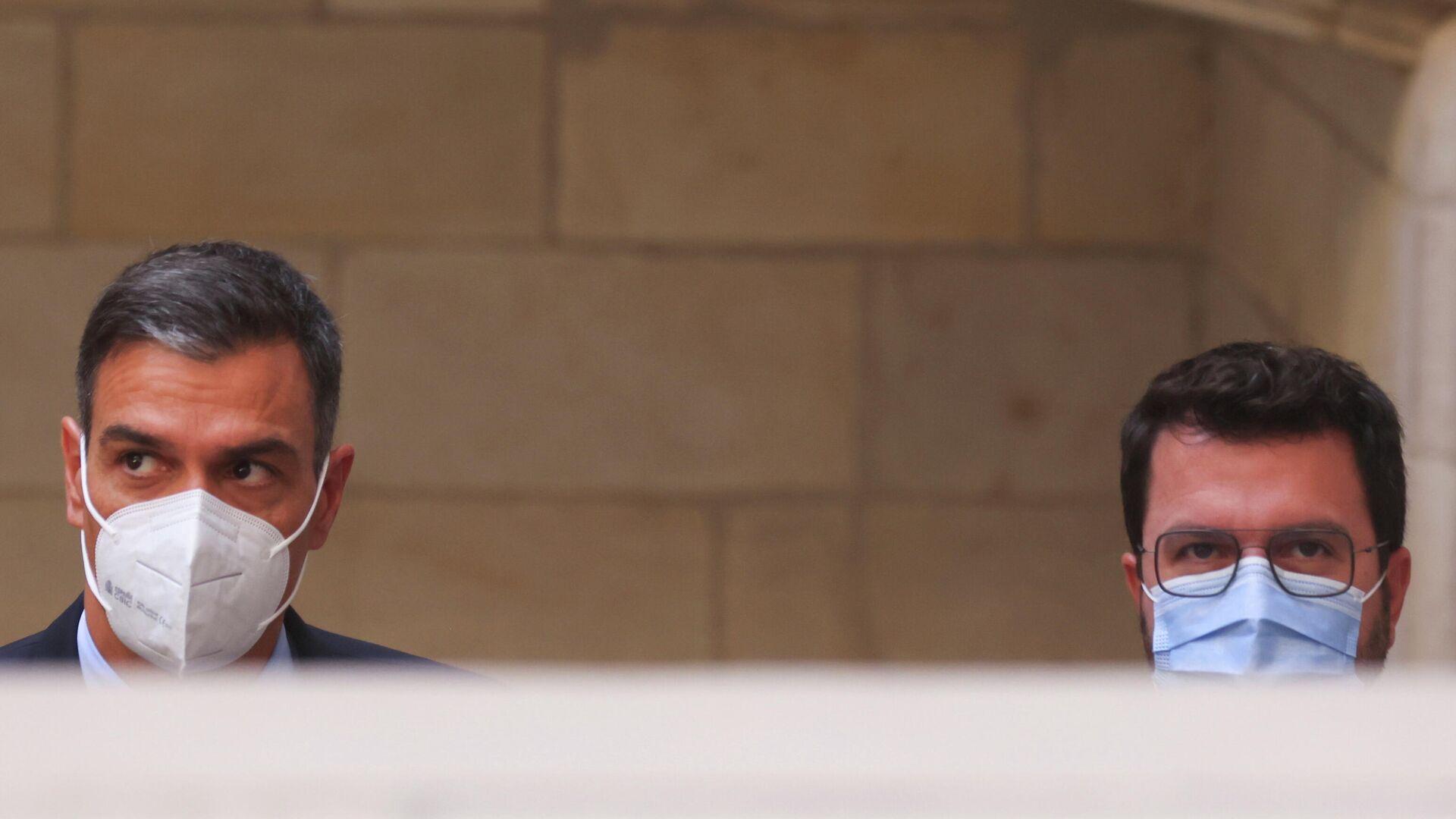 Das Treffen des spanischen Ministerpräsidenten Pedro Sánchez und des katalanischen Regionalpräsidenten Pere Aragonès  - SNA, 1920, 15.09.2021
