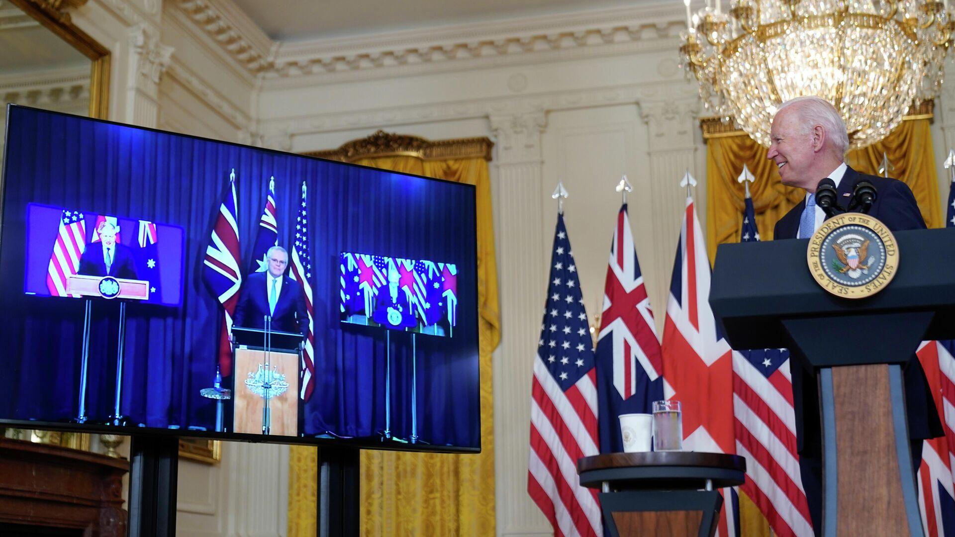 Britischer Premierminister Boris Johnson, Australiens Premierminister Scott Morrison  und US-Präsident Joe Biden  - SNA, 1920, 16.09.2021