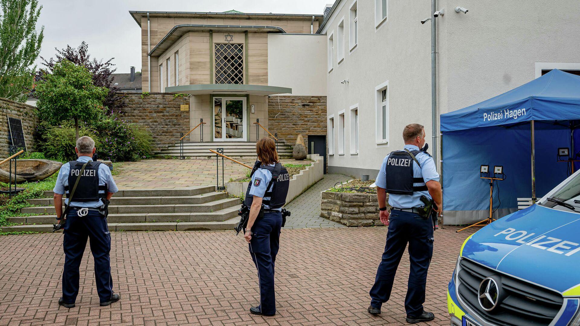 Polizei vor der Hagener Synagoge am 16. September 2021 - SNA, 1920, 17.09.2021