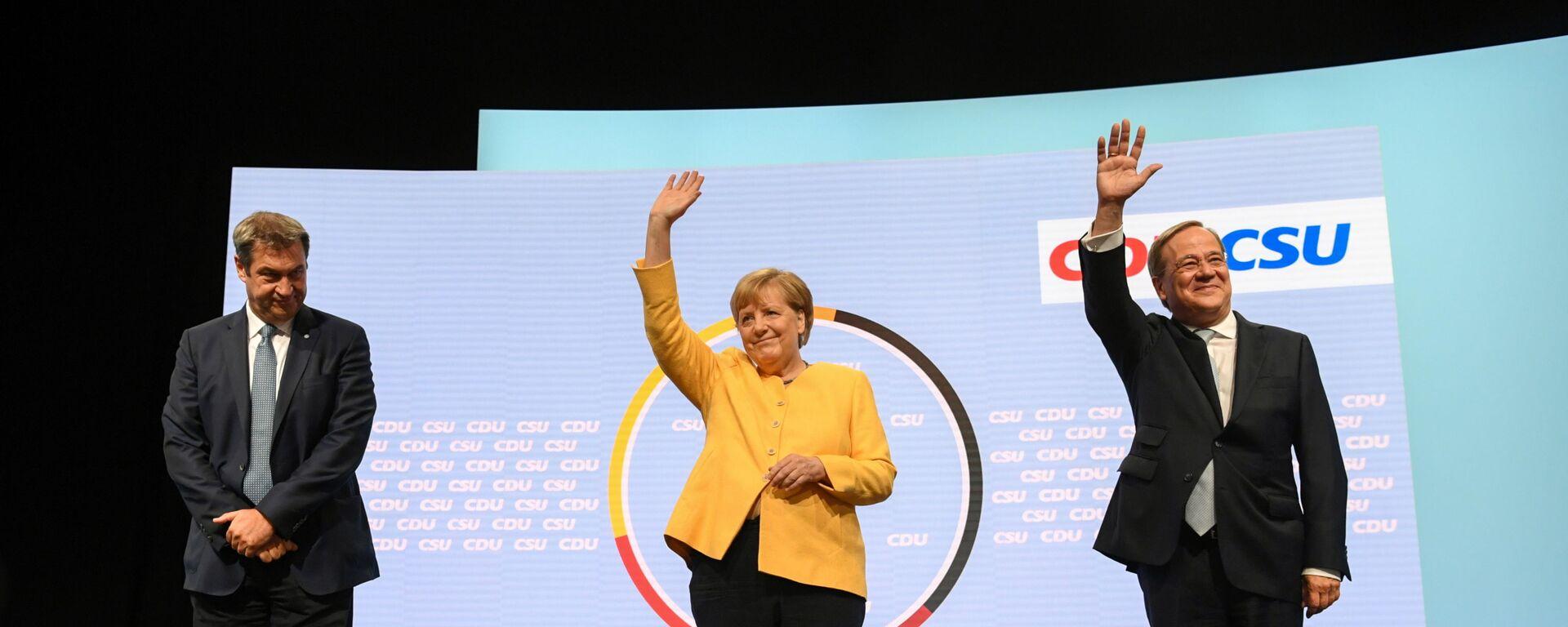 CSU-Chef Markus Söder, Bundeskanzlerin Angela Merkel und CDU/CSU-Kanzlerkandidat Armin Laschet - SNA, 1920, 17.09.2021