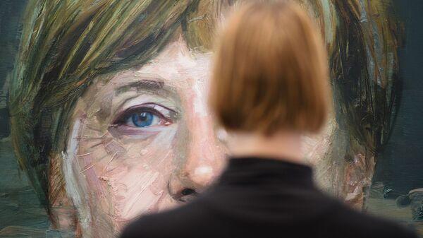 Портрет Ангелы Меркель Колина Дэвидсона на Лондонской художественной ярмарке - SNA