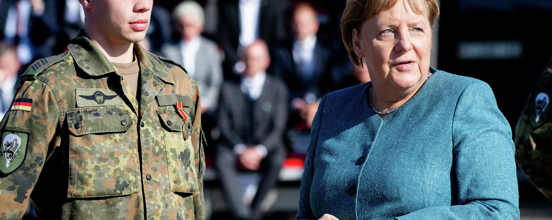 Bundeskanzlerin Angeka Merkel würdigt Merkel deutsche Soldaten, die an der Evakuierung aus Afghanistan beteiligt waren, 22.09.2021 - SNA, 1920, 22.09.2021