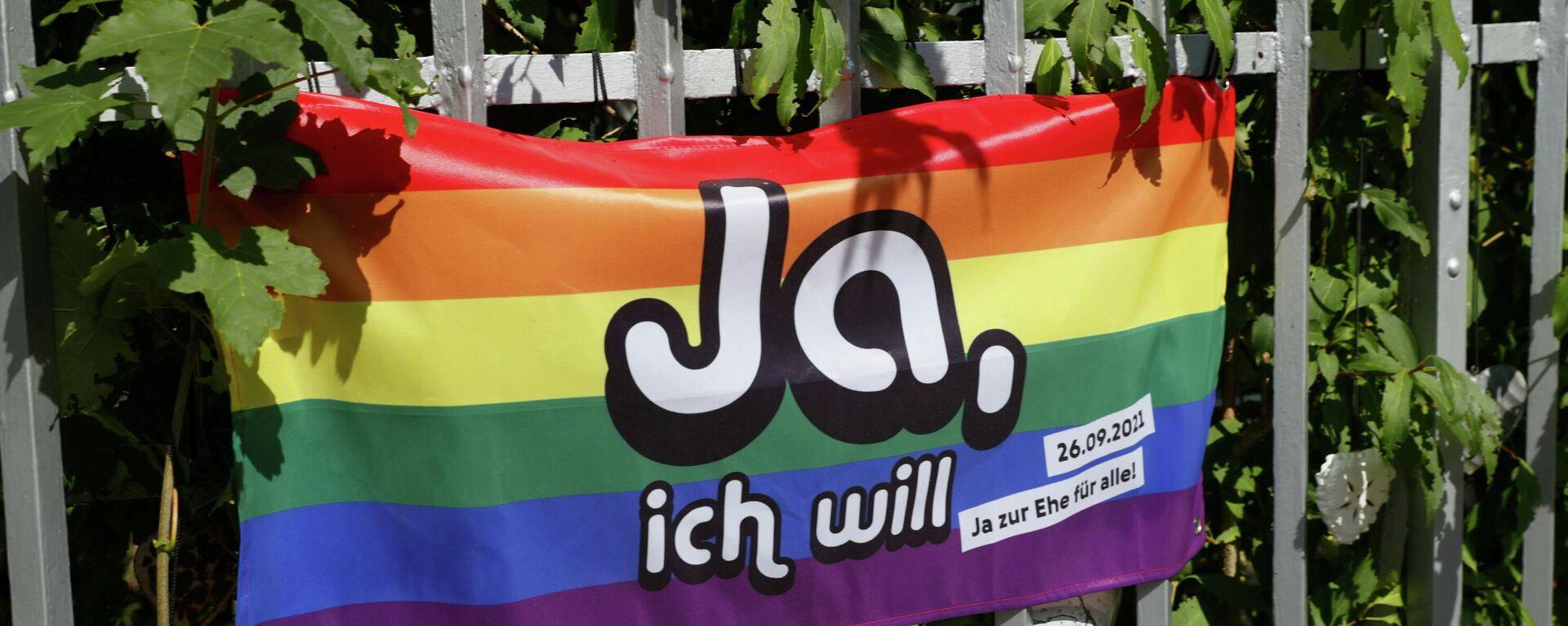 LGBT-Flagge in Bern im Vorfeld der Volksabstimmung  - SNA, 1920, 26.09.2021