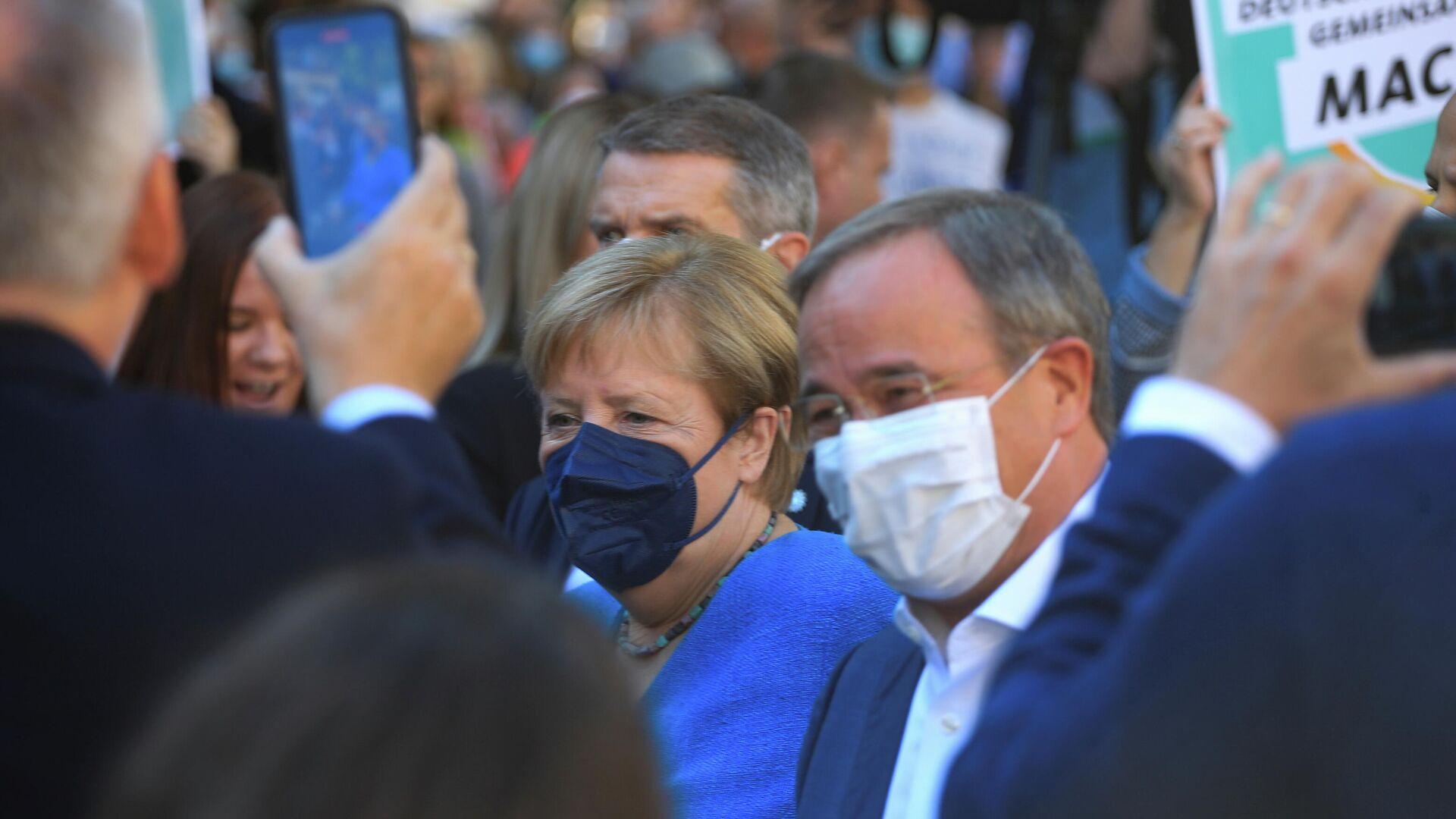 Merkel macht in Aachen Wahlkampf mit Laschet am 25. September 2021 - SNA, 1920, 25.09.2021