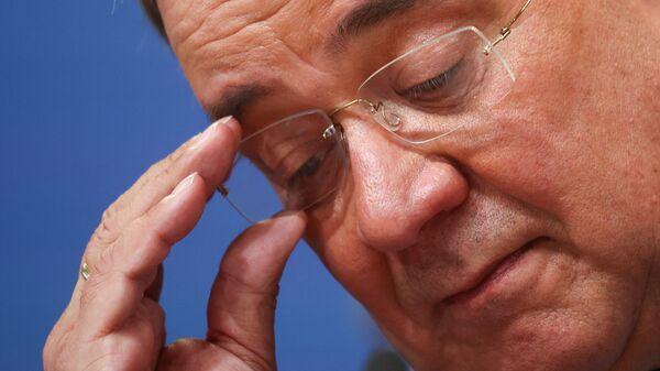 Лидер ХДС и и главный кандидат в канцлеры Германии Армин Лашет после оглашения результатов первых экзитполов на всеобщих выборах в Берлине, Германия - SNA