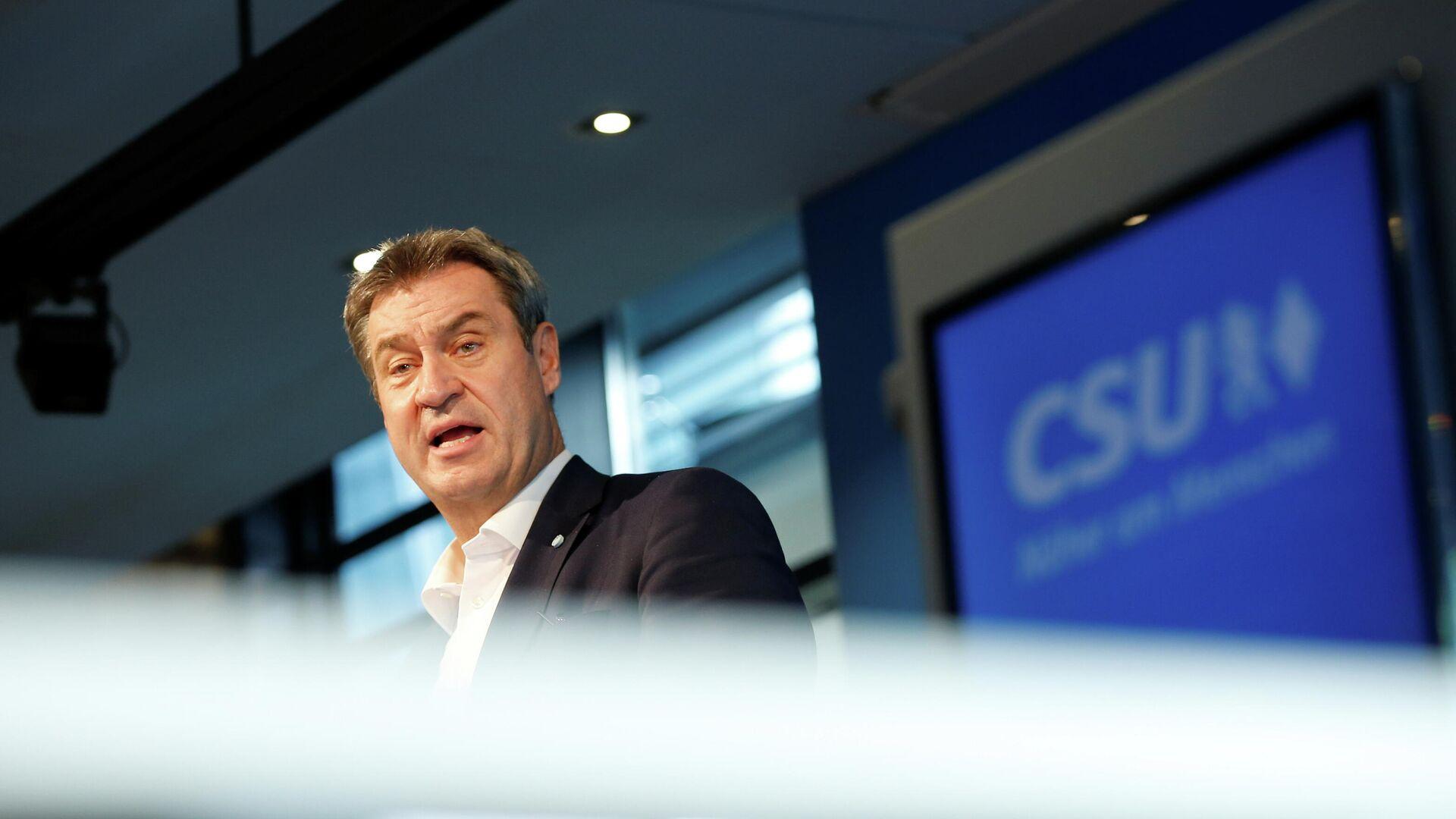 CSU-Vorsitzender Markus Söder bei der Pressekonferenz am 27. September 2021 - SNA, 1920, 27.09.2021
