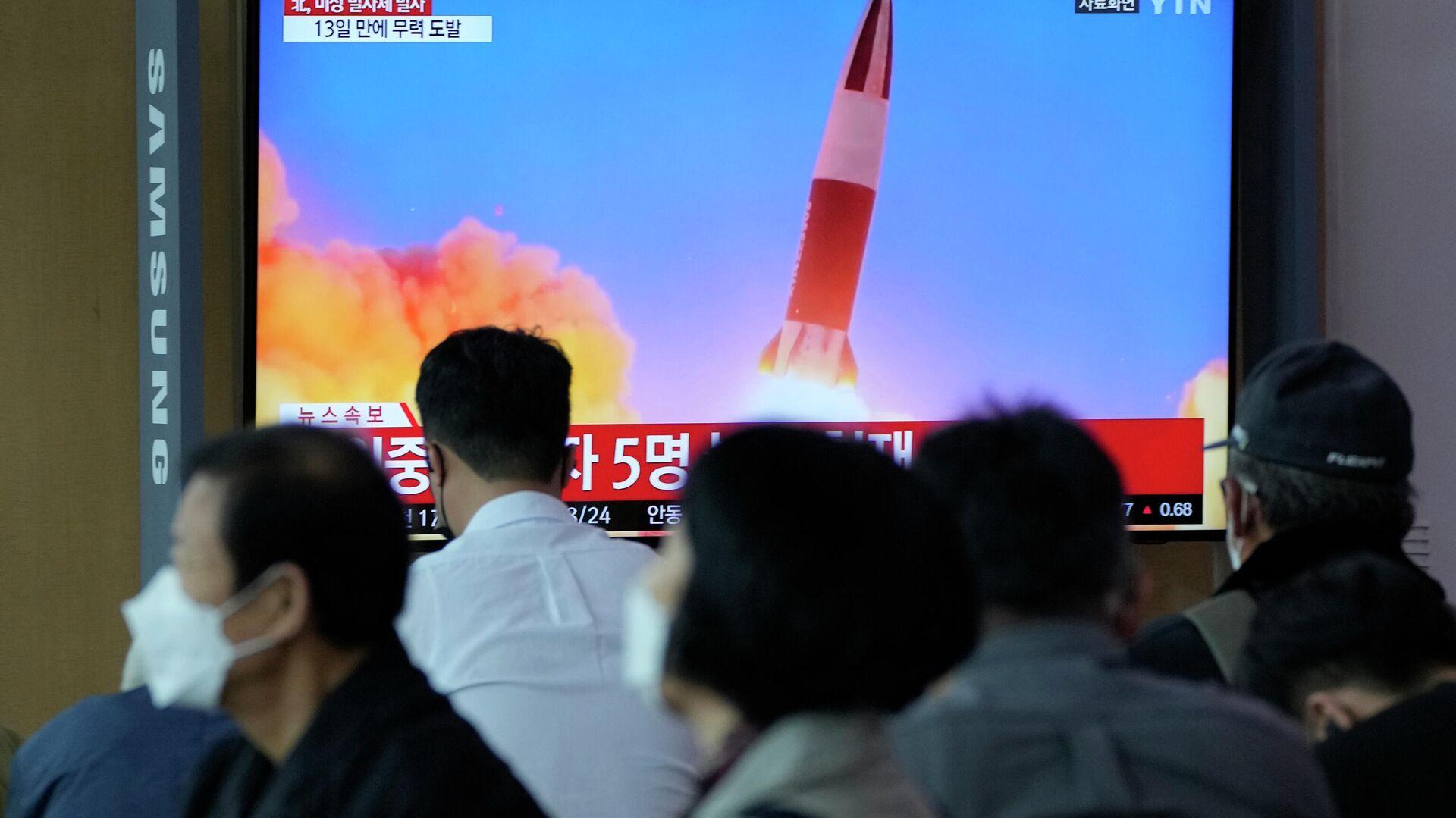 Eine Sendung über den Start eines nordkoreanischen Raketen - SNA, 1920, 28.09.2021