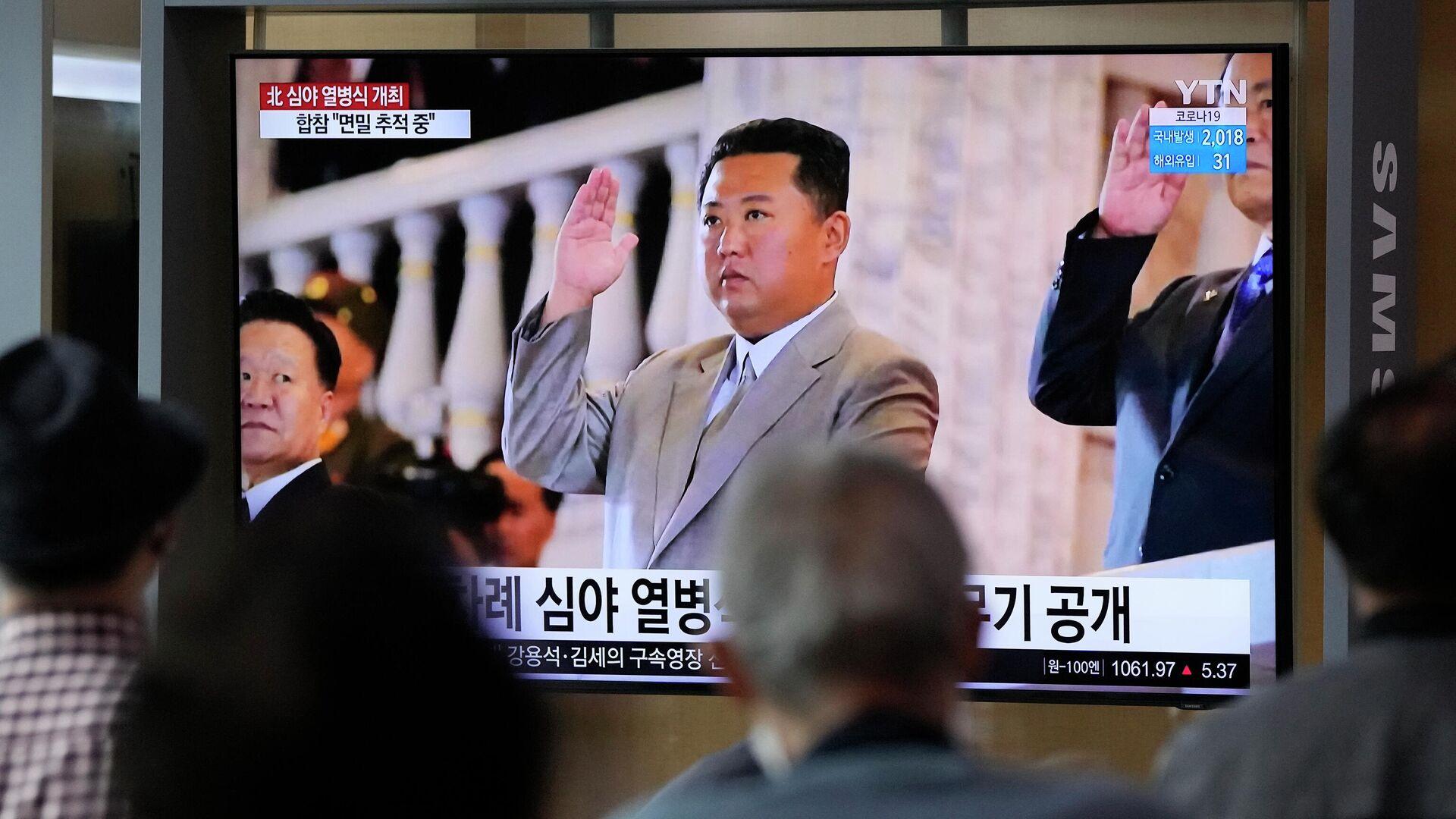 Der nordkoreanische Staatschef Kim Jong-un bei einer Militärparade in Pyongyang  - SNA, 1920, 29.09.2021