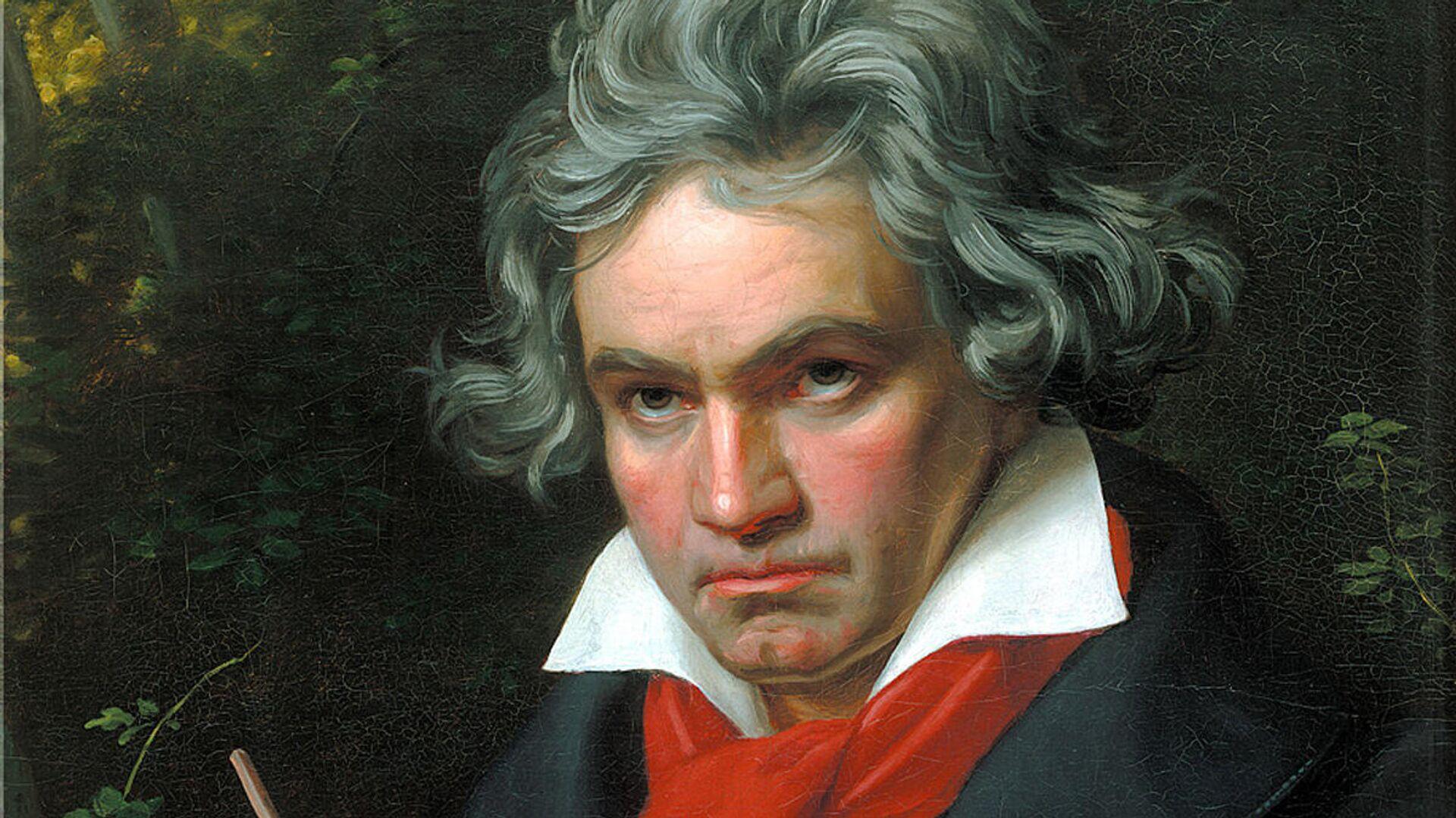 Porträt von Ludwig van Beethoven mit der Partitur der Missa Solemnis, 1820 gemalt von Joseph Karl Stieler, heute Teil der Sammlung Beethoven-Haus Bonn - SNA, 1920, 05.10.2021