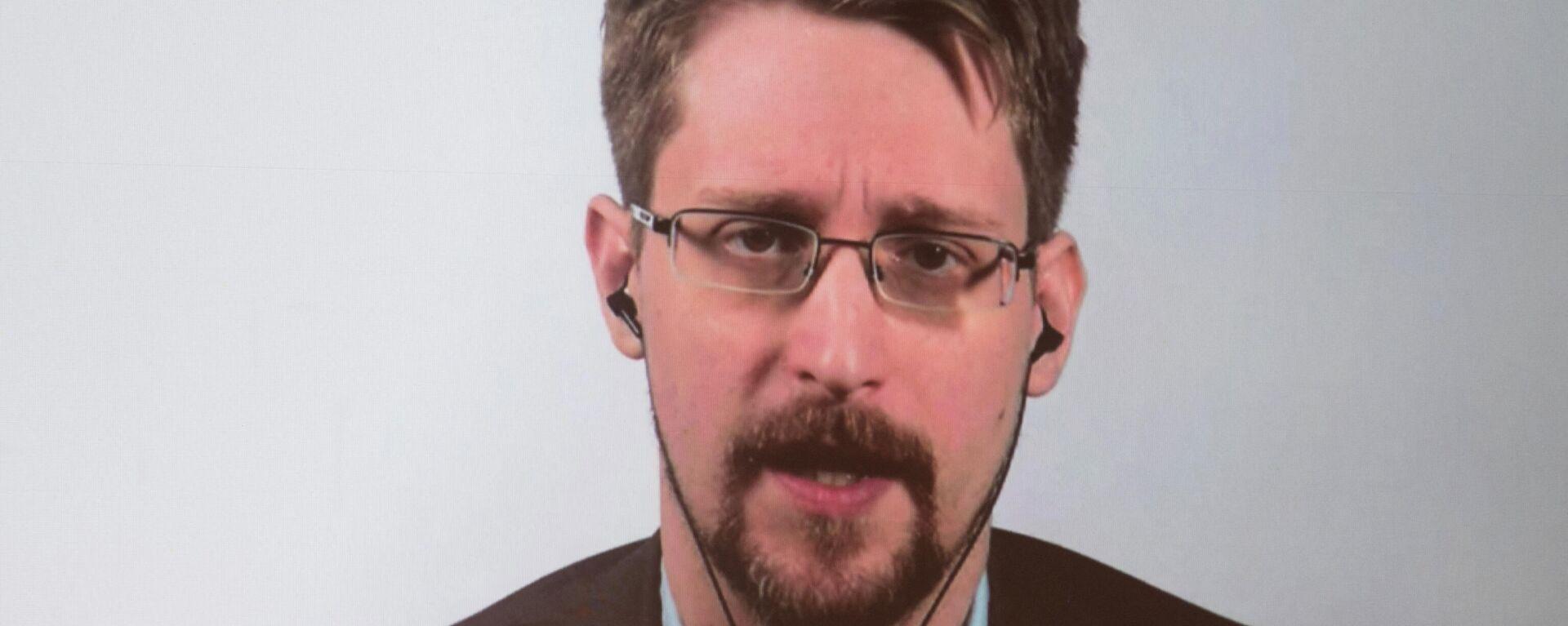 Edward Snowden wird auf einem Bildschirm gezeigt (Archivbild) - SNA, 1920, 06.10.2021