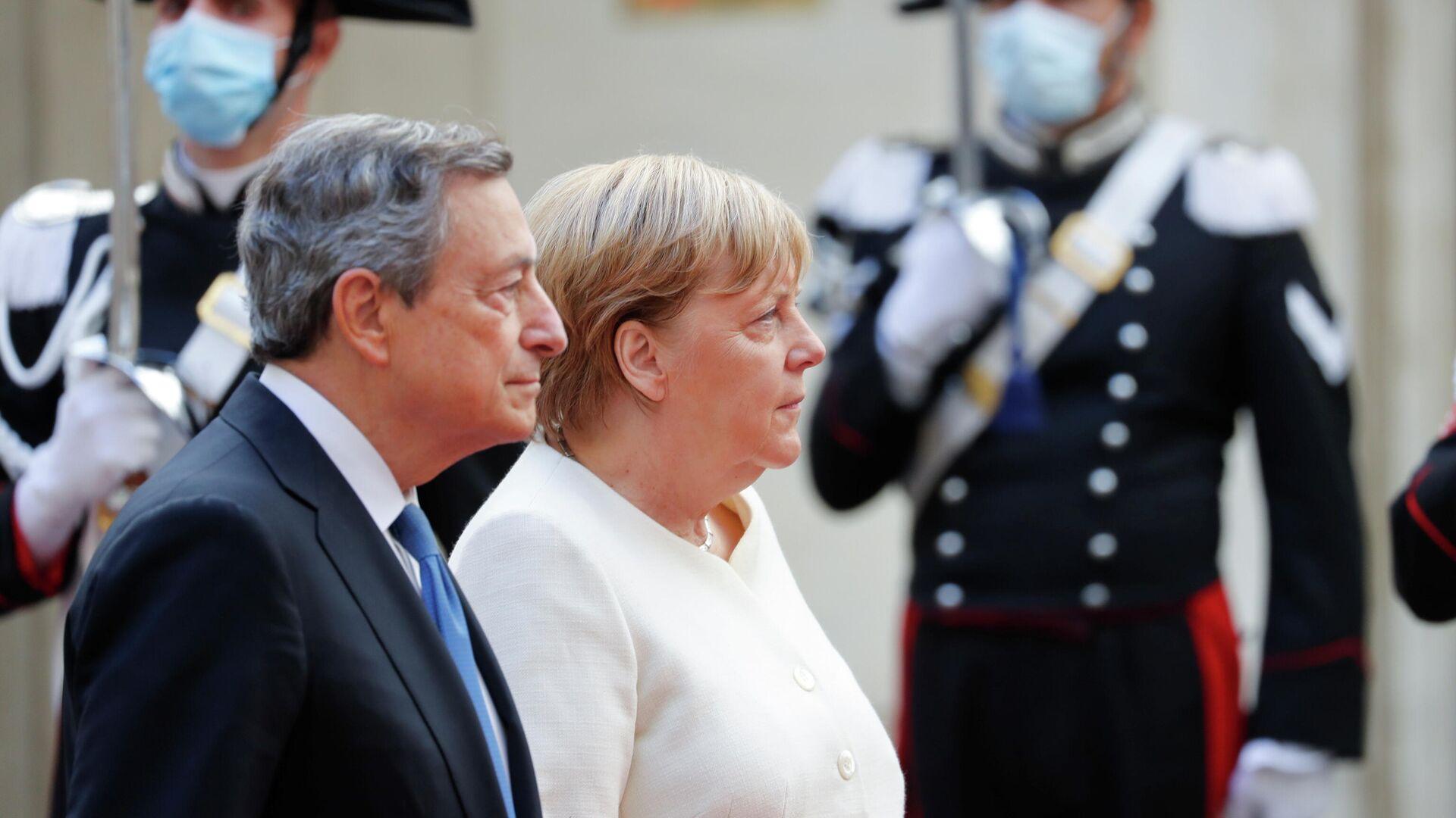 Pressekonferenz von Merkel und Draghi am 7. Oktober 2021 - SNA, 1920, 07.10.2021