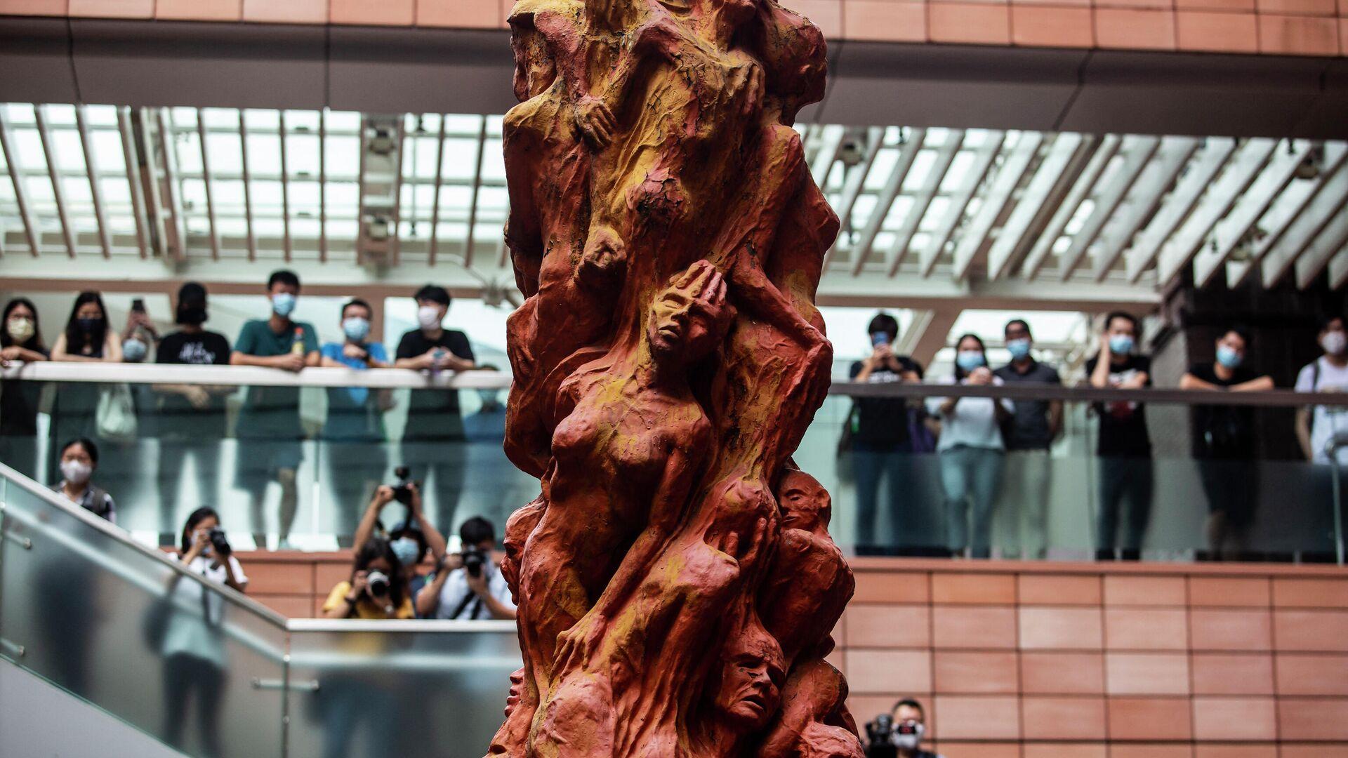 Die Säule der Schande:  Skulptur zur Erinnerung an die Opfer der Niederschlagung der Massenproteste auf dem Tiananmen-Platz in Peking 1989, die  auf dem Gelände der Universität von Hongkong aufgestellt ist - SNA, 1920, 09.10.2021