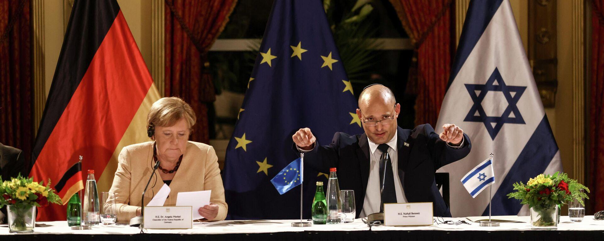 Bennett und Merkel geben Pressekonferenz in Jerusalem - SNA, 1920, 10.10.2021