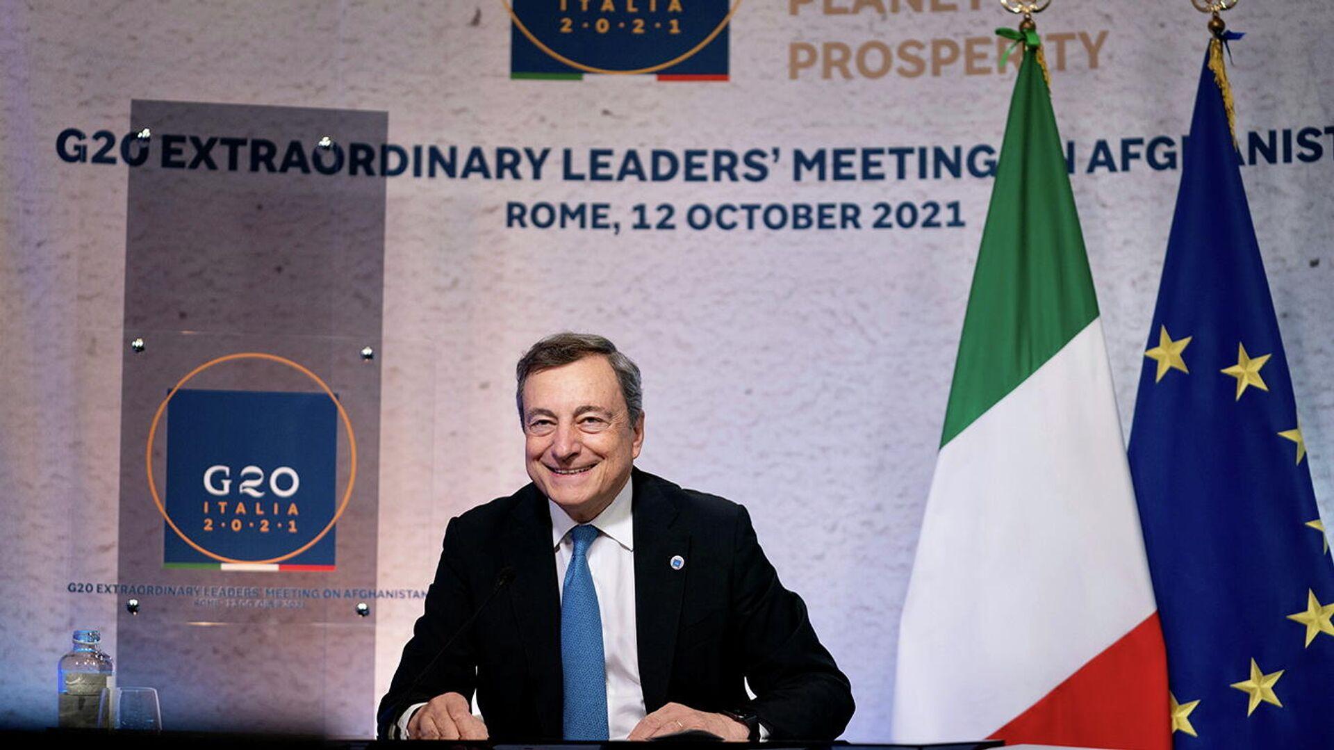 Italiens Regierungschef Mario Draghi führt den Vorsitz des G20-Sondergipfels zu Afghanistan. Rom, 12. Oktober 2021 - SNA, 1920, 12.10.2021