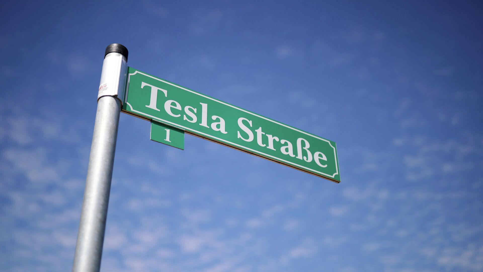 Eingang zur Baustelle einer Tesla-Fabrik in Grünheide - SNA, 1920, 14.10.2021