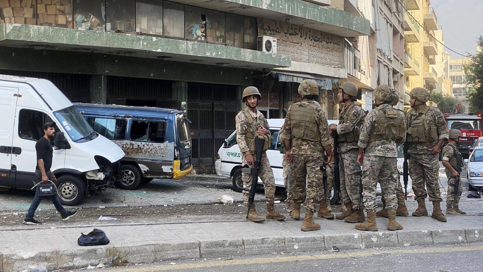 Libanesische Soldaten vor dem Justizpalast. Beirut, 14. Oktober 2021 - SNA, 1920, 14.10.2021